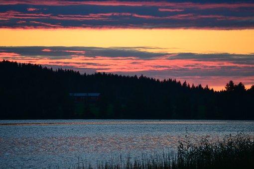 Lake, Sunset, Trees, Plants, Forest, Vegetation, Sky