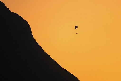 Paragliding, Mountain, Sunset, Silhouette, Slope