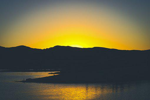 Sunset, Silhouettes, Mountains, Lake, Water, Dusk