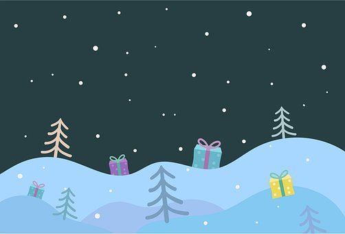 Christmas Background, Snow, Winter, Presents, Gifts