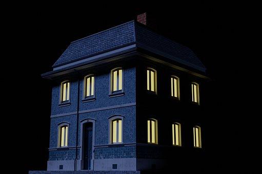 Building, Old, Night, Lights, Abandoned, Heritage