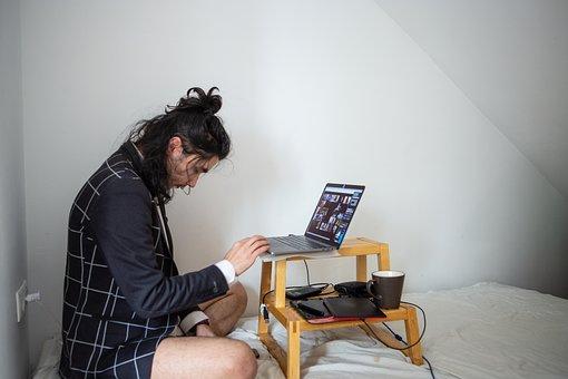 Man, Computer, Work, Bed, At Home, Virus, Parody, Humor