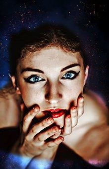 Woman, Face, Makeup, Cosmetics, Head, Hands, Beauty