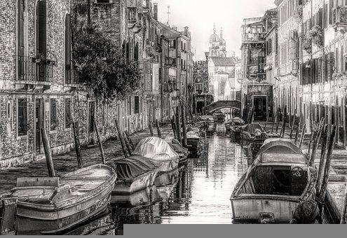 Gondolas, Boats, Channel, Buildings, Venice, Italy