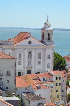Building, Old, Church, Portugal, Lisbon, Sea, Sky, Blue