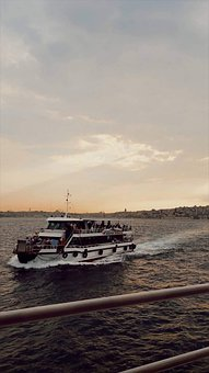 Istanbul Bosphorus, Sea, Sunset, Steamer, Seagull