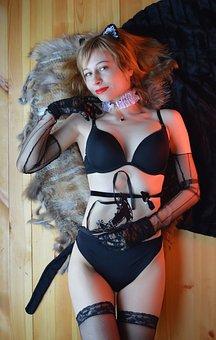 Girl, Lingerie, Cat Costume, Underwear, Stockings
