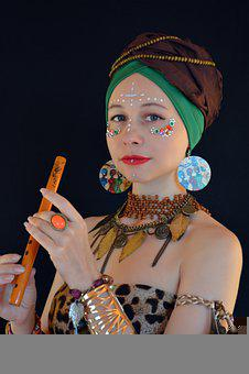 Africa, Woman, Makeup, Leopard Pattern, Bijouterie