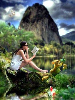 Potret, Gadis, Duduk, Membaca, Buku, Pohon, Ikan, Tupai