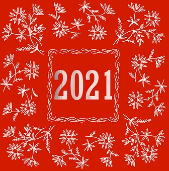 New, Year, 2021, Red, Pattern, Sign, Floral