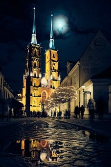 City, Night, Church, The Cathedral, Old, Wrocław