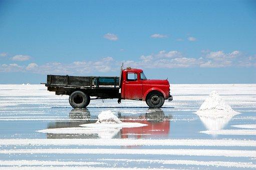 Salar De Uyuni, Truck, Salt, Bolivia, Uyuni, Salar