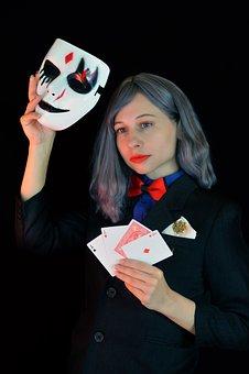 Sharper, Card Player, Poker, Gambling, Swindler, Mask