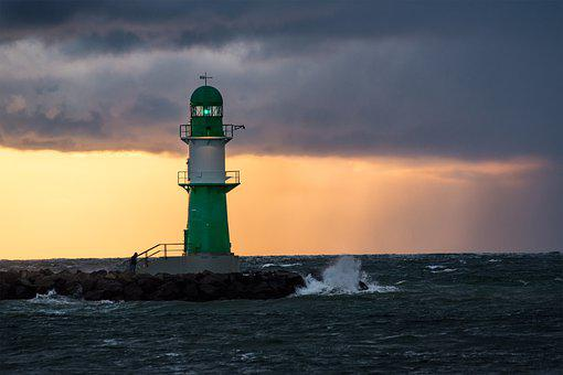 Sunset, Lighthouse, Sea, Horizon, Dusk, Evening, Beacon