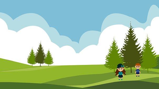 Children, Meadow, Trees, Kids, Field, Landscape, Clouds
