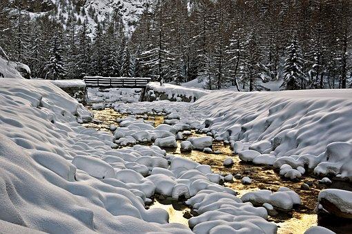 Mountain, Bridge, River, Snow, Frozen, Frozen River