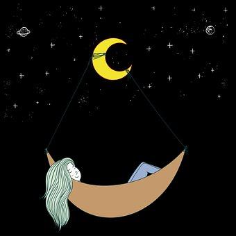 Girl, Sleeping, Night Sky, Night, Star, Sky, Starry