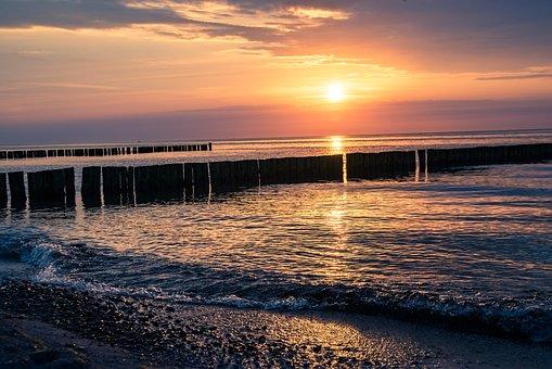 Sunset, Breakwater, Sea, Silhouette, Sun, Sunlight