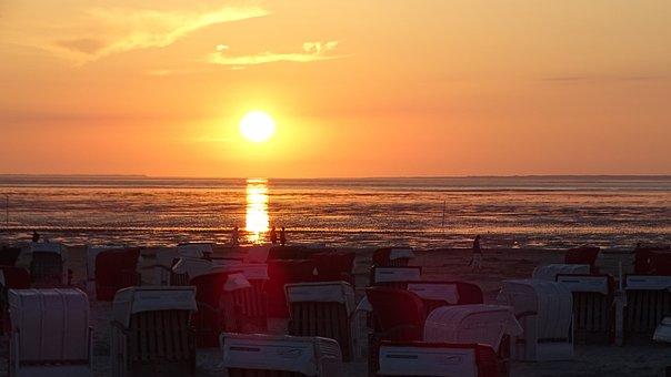 Sunset, Bensersiel, North Sea, Vacations, East Frisia
