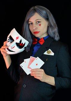 Sharper, Card Player, Gambling, Swindler, Mask