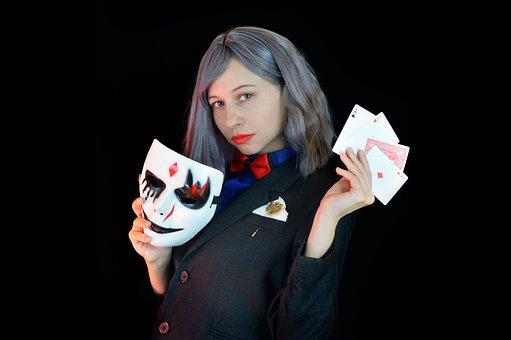 Card Player, Mask, Gambling, Man, Sharper, Swindler
