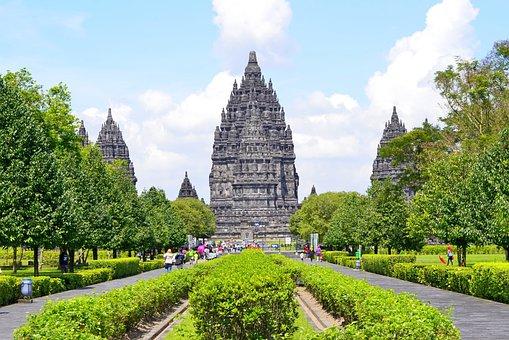 Prambanan, Temple, Park, Garden, Architecture, Landmark