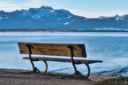 Bench, Lake, Mountains, Seat, Bank, Mountain Range