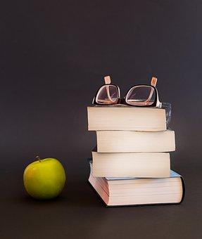 Glasses, Book, Apple, Fruit, Literature, Educate