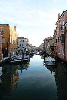 Channel, Houses, Boats, Gondolas, Bridge, Buildings