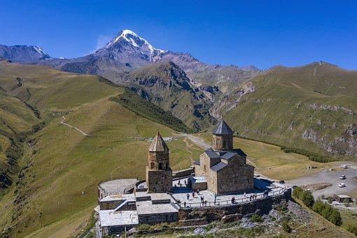 Gergeti Trinity Church, Church, Mountains, Building