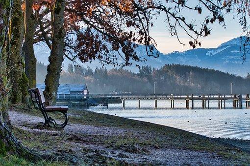 Autumn, Bench, Lake, House, Jetty, Pier, Boardwalk