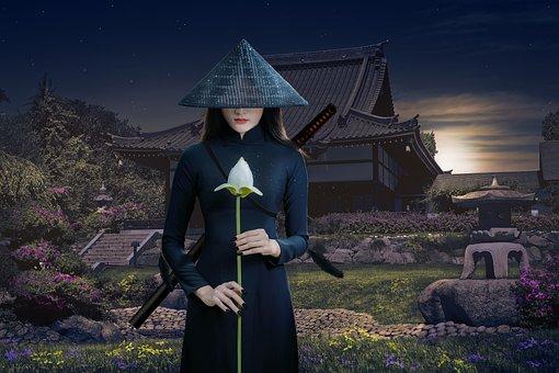 Asia, Warrior, Woman, Samurai, Katana, Ninja, Weapon