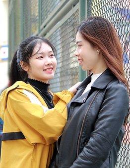 Girls, Pair, Asian, Asian Girls, Friends, Smile