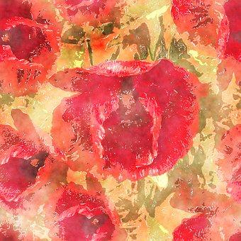 Poppies, Pattern, Watercolor, Flowers, Red Flowers