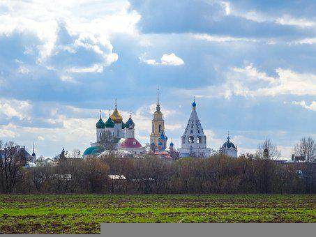 Kolomna, Russia, Spring, Grass, Sky, Clouds, Church