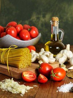 Pasta, Noodles, Tomatoes, Mozzarella, Ingredients, Raw
