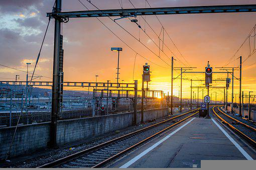 Sunset, Railway, Train Station, Railroad, Tracks