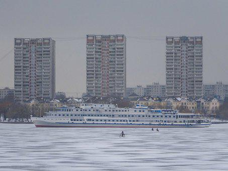 Moscow, Russia, Ship, Bicycle, Winter, Houses