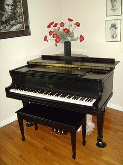 Grand Piano, Instrument, Keyboard, Baby Grand, Black