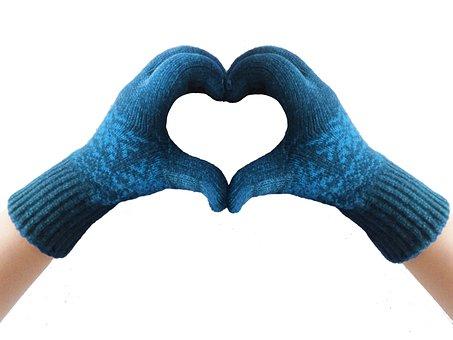 Gloves, Heart, Blue, Winter, Knit