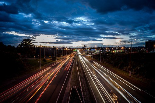 Motorway, Light Trails, Night Photography, Blue, Sky