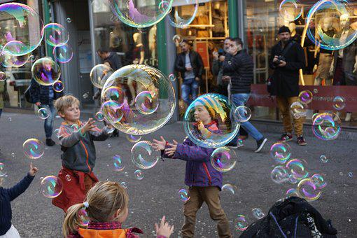 Basel, Switzerland, Soap Bubbles, Children
