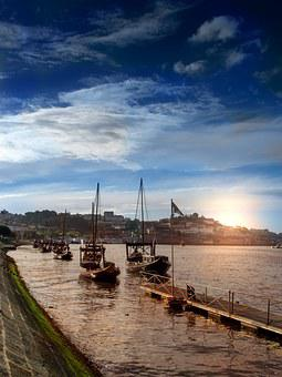 Porto, Sunset, Dusk, Portugal, Boats, Clouds, Horizon