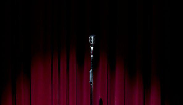 Stage, Curtain, Microphone, Old Microphone, Red