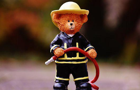 Bear, Profession, Fire Fighter, Fig, Cute, Sweet, Funny