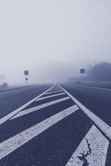 Fog, Road, Highway, Tar, Central Reservation, Landscape