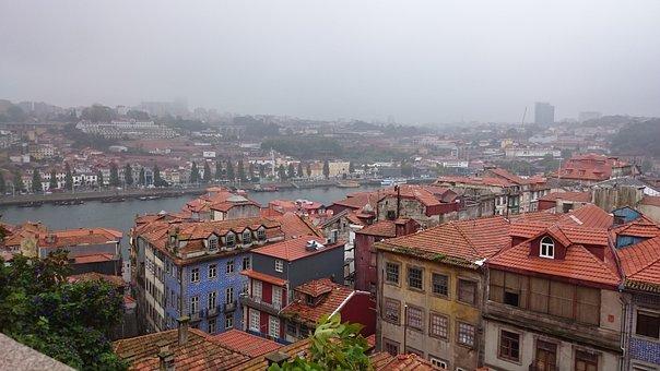 Portugal, Porto, Architecture, Fog, Roofs, Town