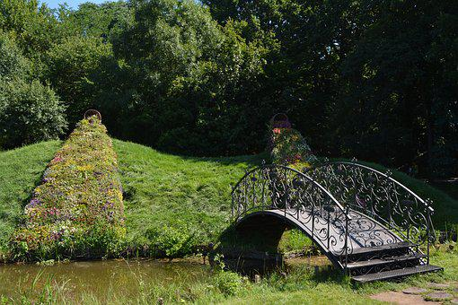 Forest, Lake, Island, Furbished, Bridge, River, Flow
