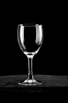 Glass, Black Background, White Stripes, Goblet