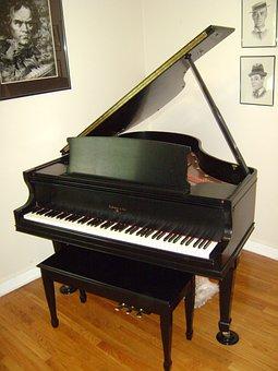 Piano, Grand Piano, Black, Instrument, Music, Musical